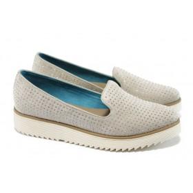 Дамски обувки на платформа - висококачествен текстилен материал - бежови - EO-5799