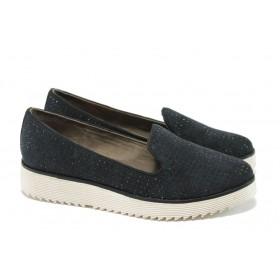 Дамски обувки на платформа - висококачествен текстилен материал - черни - EO-5800