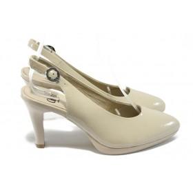 Дамски обувки на висок ток - естествена кожа-лак - бежови - EO-5794