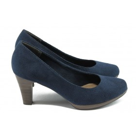 Дамски обувки на висок ток - висококачествен еко-велур - сини - EO-5798