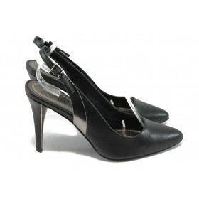 Дамски обувки на висок ток - висококачествена еко-кожа - черни - EO-5797