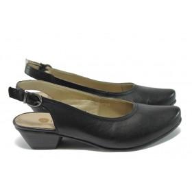Дамски обувки на среден ток - естествена кожа - черни - EO-5843