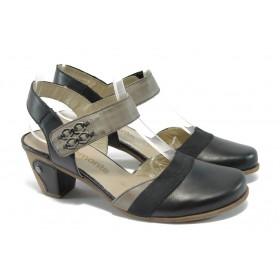 Дамски обувки на среден ток - естествена кожа - черни - EO-5844