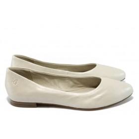 Равни дамски обувки - естествена кожа - бежови - EO-5849
