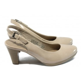 Дамски обувки на висок ток - еко кожа-лак - бежови - EO-5845