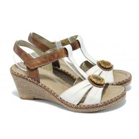 Дамски сандали - естествена кожа - бели - EO-5837