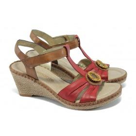 Дамски сандали - естествена кожа - червени - EO-5838