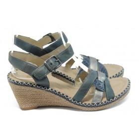Дамски сандали - естествена кожа - сини - EO-5839