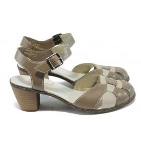 Дамски обувки на среден ток - естествена кожа - бежови - EO-5840
