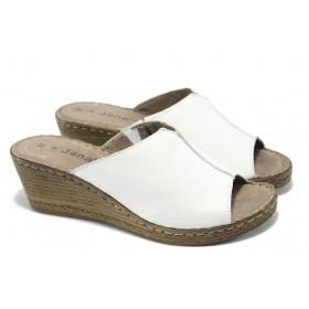 Дамски чехли - естествена кожа - бели - EO-5881