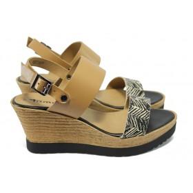 Дамски сандали - естествена кожа - бежови - EO-5991
