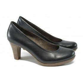 Дамски обувки на висок ток - естествена кожа - тъмносин - EO-5882