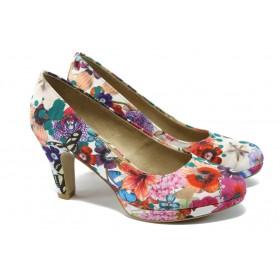 Дамски обувки на висок ток - висококачествен текстилен материал - пъстър - EO-5936