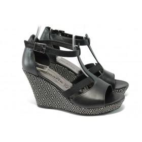 Дамски сандали - естествена кожа - черни - EO-5923