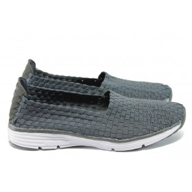 Равни дамски обувки - висококачествен текстилен материал - сиви - EO-5934