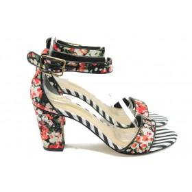 Дамски сандали - висококачествен текстилен материал - пъстър - EO-5988