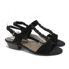 Дамски сандали - естествен велур - черни - EO-5990
