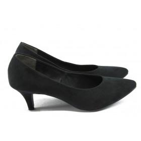 Дамски обувки на среден ток - висококачествен еко-велур - черни - EO-5925