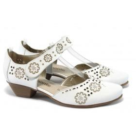 Дамски обувки на среден ток - естествена кожа - бели - EO-5965