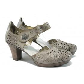 Дамски обувки на среден ток - естествена кожа с перфорация - бежови - EO-5966