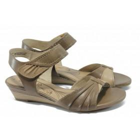 Дамски сандали - естествена кожа - кафяви - EO-5967