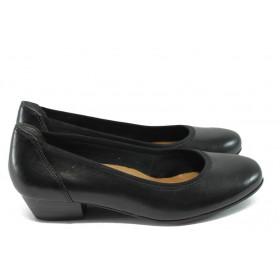 Дамски обувки на среден ток - естествена кожа - черни - EO-5986