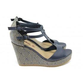 Дамски сандали - висококачествена еко-кожа - сини - EO-6003