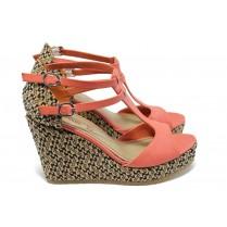 Дамски сандали - висококачествена еко-кожа - корал - EO-6004