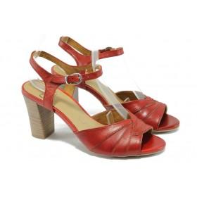 Дамски сандали - естествена кожа - червени - EO-4569