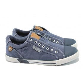 Спортни мъжки обувки - висококачествен текстилен материал - сини - EO-6010
