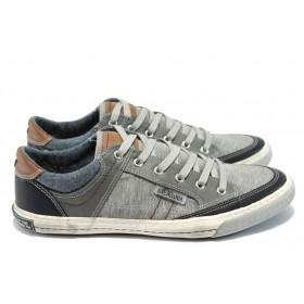 Спортни мъжки обувки - висококачествен текстилен материал - сиви - EO-6028