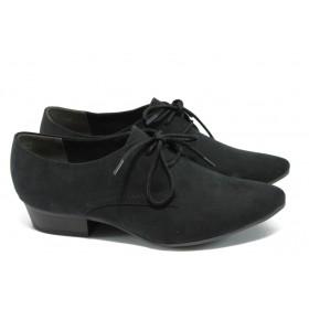 Дамски обувки на среден ток - висококачествен еко-велур - черни - EO-6012