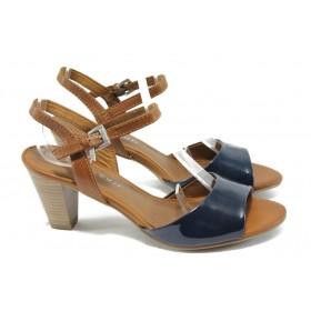 Дамски сандали - висококачествена еко-кожа - сини - EO-6011