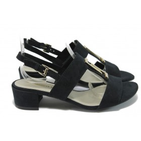 Дамски сандали - висококачествен еко-велур - черни - EO-6022