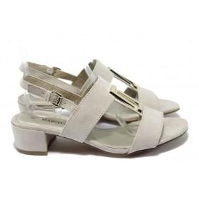 Дамски сандали - висококачествен еко-велур - бежови - EO-6023