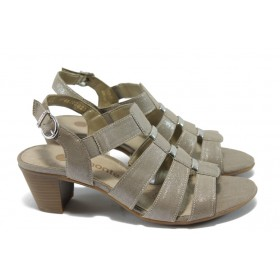 Дамски сандали - висококачествена еко-кожа - бежови - EO-6053