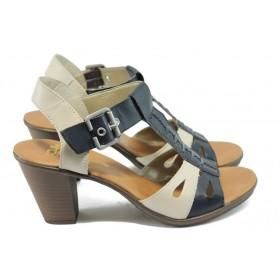 Дамски сандали - естествена кожа - сини - EO-6055
