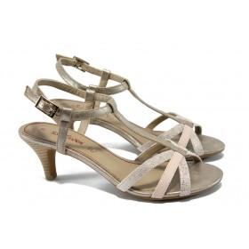 Дамски сандали - висококачествена еко-кожа - бежови - EO-6052