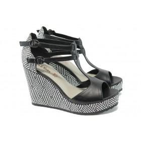 Дамски сандали - висококачествена еко-кожа - черни - EO-6069