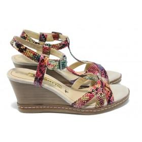 Дамски сандали - висококачествена еко-кожа - розови - EO-6094