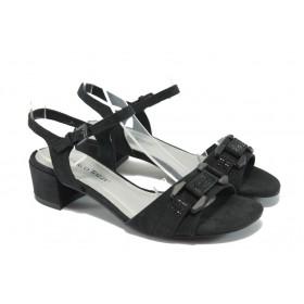 Дамски сандали - висококачествен еко-велур - черни - EO-6070