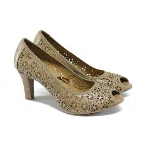Дамски обувки на висок ток - естествена кожа с перфорация - бежови - EO-6074