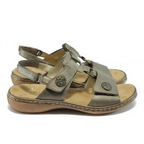 Дамски сандали - естествена кожа - сиви - EO-6072