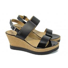 Дамски сандали - естествена кожа - черни - EO-6093
