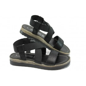 Дамски сандали - естествена кожа - черни - EO-6139