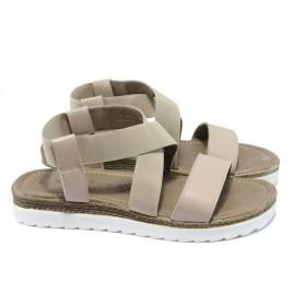 Дамски сандали - естествена кожа - бежови - EO-6140