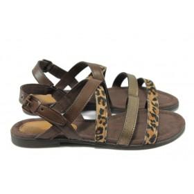 Дамски сандали - висококачествена еко-кожа - тъмнокафяв - EO-6095
