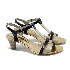 Дамски сандали - висококачествена еко-кожа - черни - EO-6119