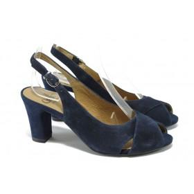 Дамски сандали - естествен велур - тъмносин - EO-6118