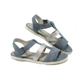 Дамски сандали - висококачествена еко-кожа - сини - EO-6121